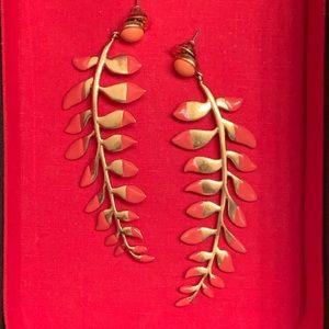 EUC Tory Burch Gold Fern Earrings